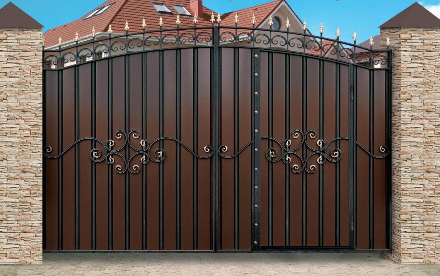 ворота распашные профнастил с ковкой